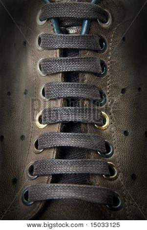 close-up laces on the brown boots
