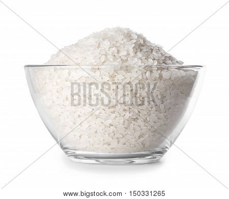 rice in glass bowl closeup isolated on white background with clipping path. Rice. Polished rice heap in small glass bowl isolated on white. Rice in glass bowl side view