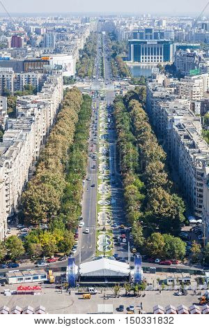 Bucharest Romania - October 1 2016: High angle view of Unirii Boulevard in Bucharest Romania.