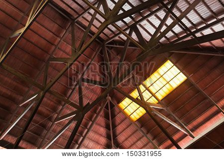 Internal Construction Of Wooden Roof With Girders