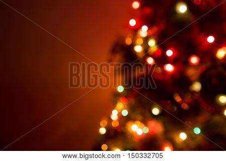 Christmas Tree Lights Bokeh Blurred Out Of Focus Background