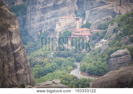 Color image of a monastery in Meteora Greece.