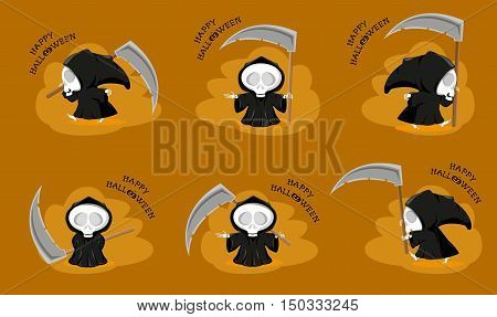 Set of funny little death with a large scythe in different poses with title Happy Halloween isolated on orange background. Cartoon style. Vector illustration