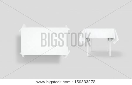 Bank white tablecloth mock up set clipping path 3d rendering.  Fabric space satin on desk template.