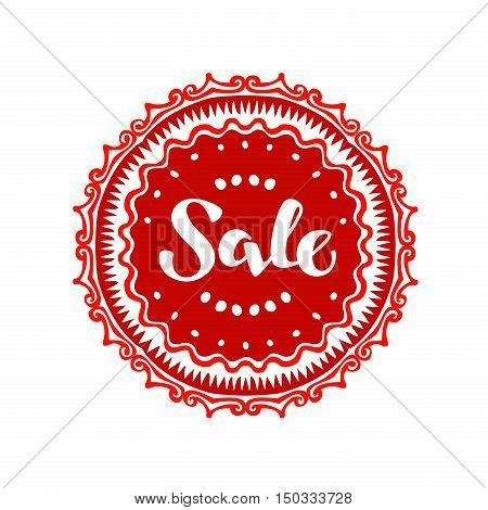 Stamp with text Sale written inside. Lettering vector illustration isolated on white background