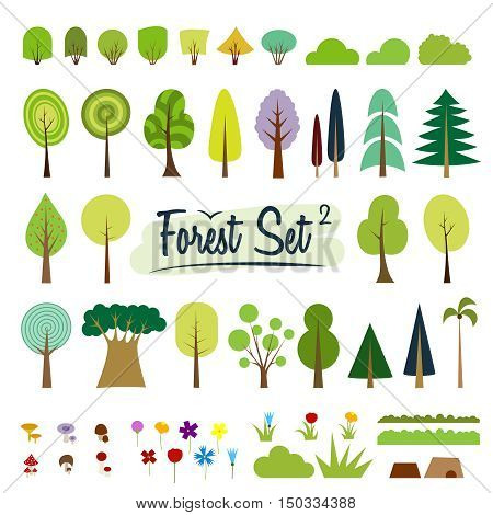 Vector color trees set. Part 2. Various trees, bushes, grass, flowers, mushrooms. Cartoon flat trees. Fir, pine, spruce, larch, baobab. Different simple trees, shrubs on white background. Colorful.