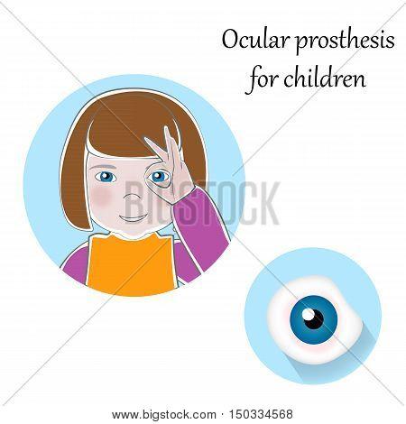 Pediatric Ocular Prostheses illustration. Prosthetic, artificial eyes for children. Pediatrics medicine, handicapped, social adaptation