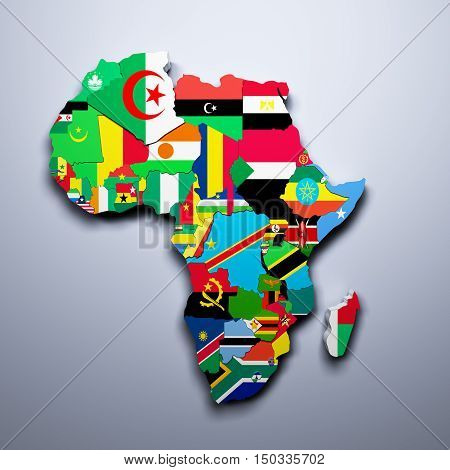 Africa Map With Flags Of The Countries 3D Render