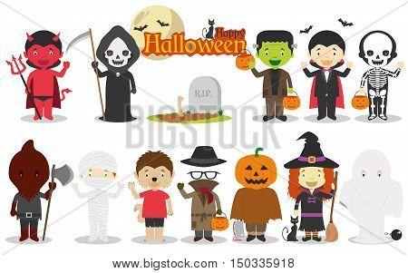 Set of Children´s Halloween characters Vector illustration