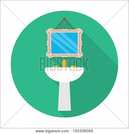washbasin, mirror flat icon with long shadow for web design
