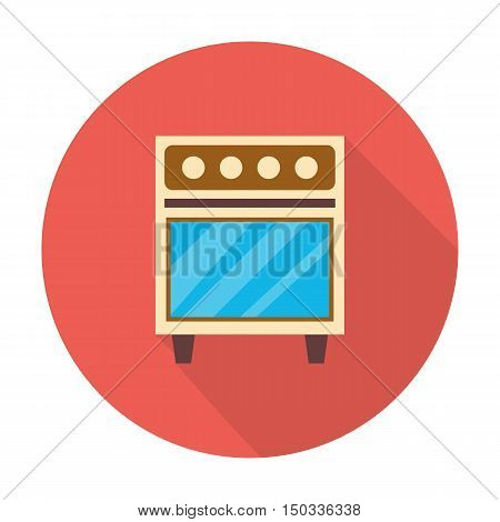 gas stove flat icon with long shadow for web design