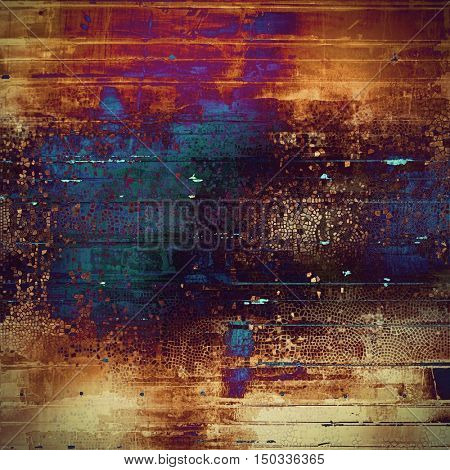 Abstract scratched background or frame with weathered grunge texture. Ancient style backdrop with different color patterns: yellow (beige); brown; blue; red (orange); purple (violet)