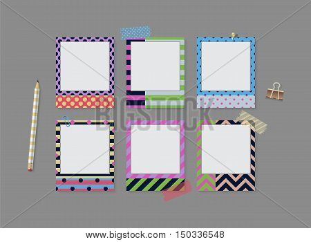 Realistic Vector Retro Photo Frames With Patterns. Template Photo Design. Vector Illustration