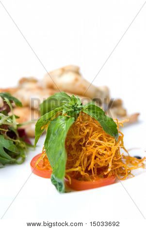 carrot and tomato with green leaves