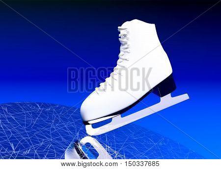 Figure skating. The skate for figure skating against the background of ice. 3D illustration