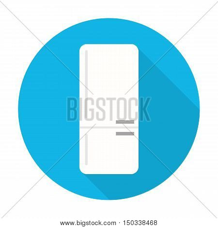 refrigerator flat icon with long shadow for web design