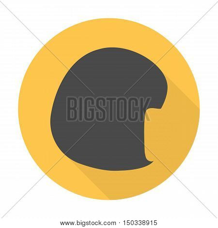 wig flat icon with long shadow for web design