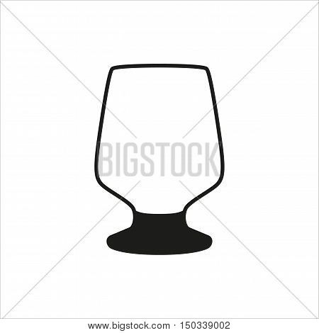 Transparent vector glass goblets in simple monochrome style. Brandy sniffer empty transparent icon