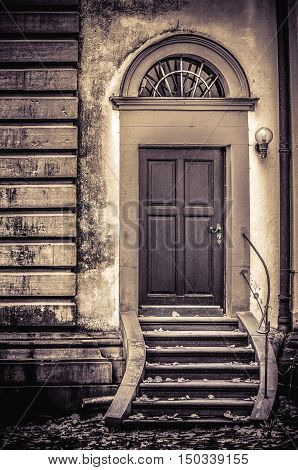 Interesting church architecture with backdoor sepia artwork