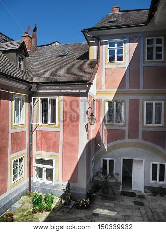 Javornik Town Czech republic - August 20 2011: Paved Courtyard of National Monument Jansky Hill (Jansky Vrch) Castle Olomouc Region