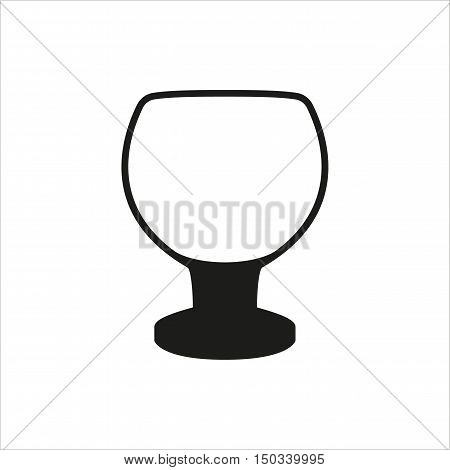 Transparent vector glass goblets in simple monochrome style. Brandy sniffer empty transparent icon Created For Mobile Web Decor Print Products Applications. Black icon isolated on white background