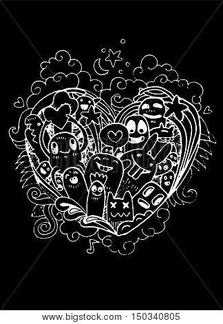 Doodle Heart Shape  And Doodles Monsters Sketch. Vector Illustration