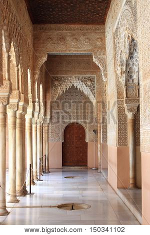 Decorations in the Royal Alcazar of Sevilla, Spain
