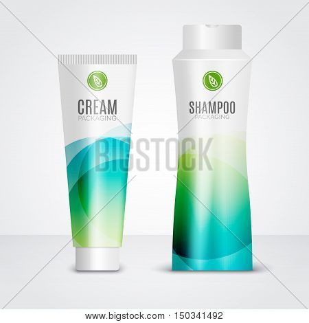 Body care cosmetics designs tubes template. Packaging templates of cream, gel and shampoo.