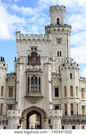 Facade of the Hluboka castle, Czech Republic
