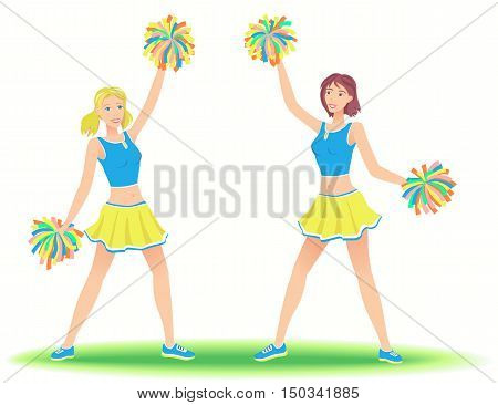 Cheerleaders with pom-poms. Girls support team dancing.