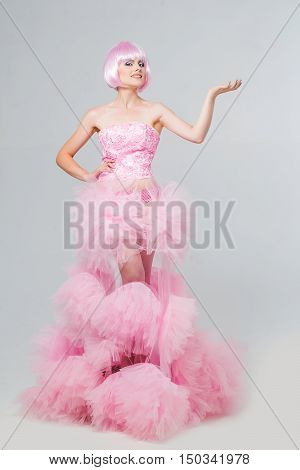 Pretty Girl In Pink Wig And Dress