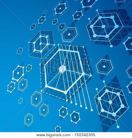 Bauhaus art dimensional composition perspective blue modular vector backdrop with honeycombs.