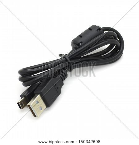 USB / Mini-USB Cable with Ferrite - Isolated on White Background