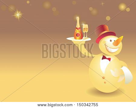 Snowman-waiter With Champagne On Gold