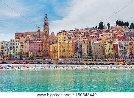 colorful houses and beach of Menton old town, France