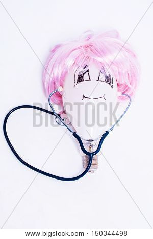 Bulb In Wig With Stethoscope
