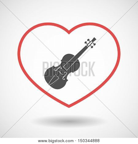 Isolated Line Art Red Heart With  A Violin