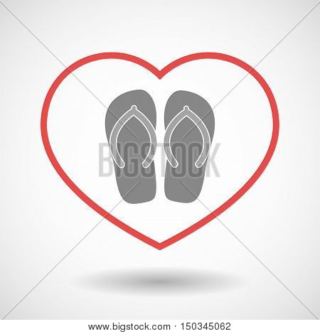 Isolated Line Art Red Heart With   A Pair Of Flops