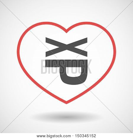Isolated Line Art Red Heart With  A Tongue Sticking Text Face Emoticon