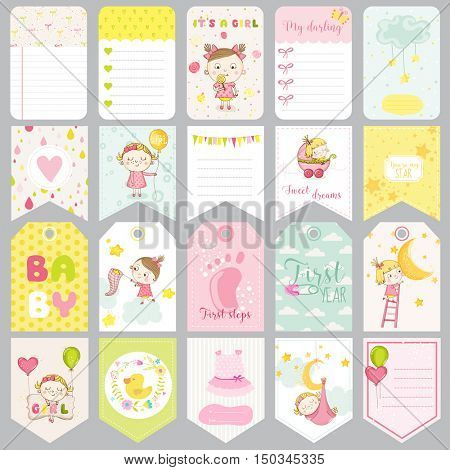 Cute Baby Girl Tags. Baby Banners. Scrapbook Labels. Cute Cards. Vector Design Elements.