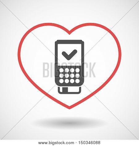 Isolated Line Art Red Heart With  A Dataphone Icon