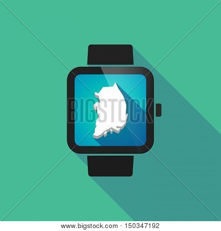Long Shadow Smart Watch With  The Map Of South Korea