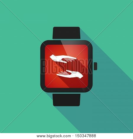 Long Shadow Smart Watch With  Two Hands Giving And Receiving  Or Protecting