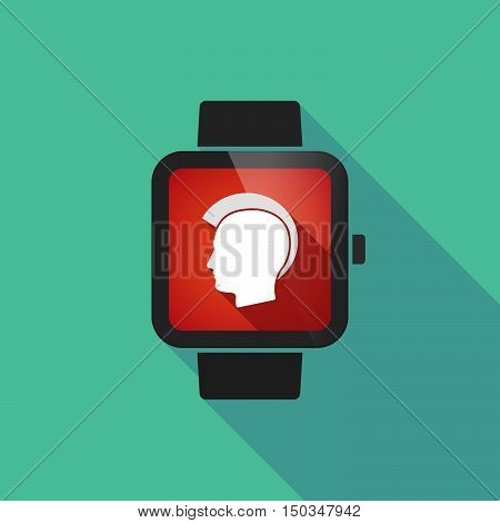 Long Shadow Smart Watch With  A Male Punk Head Silhouette