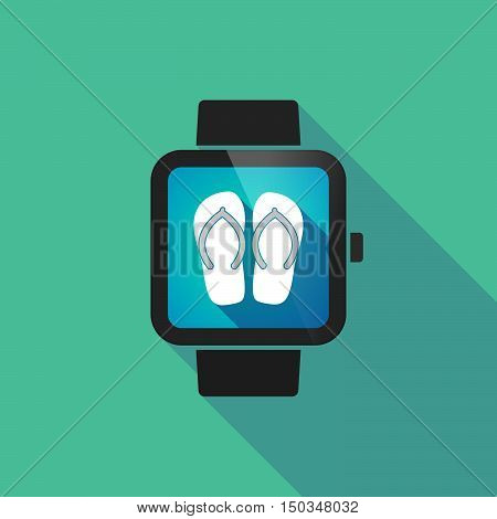 Long Shadow Smart Watch With   A Pair Of Flops