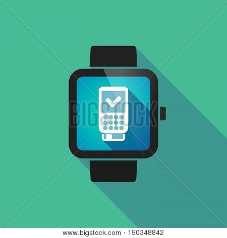 Long Shadow Smart Watch With  A Dataphone Icon