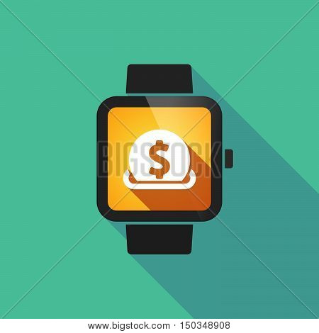 Long Shadow Smart Watch With  A Dollar Coin Entering In A Moneybox