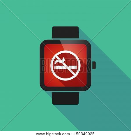 Long Shadow Smart Watch With  A No Smoking Sign