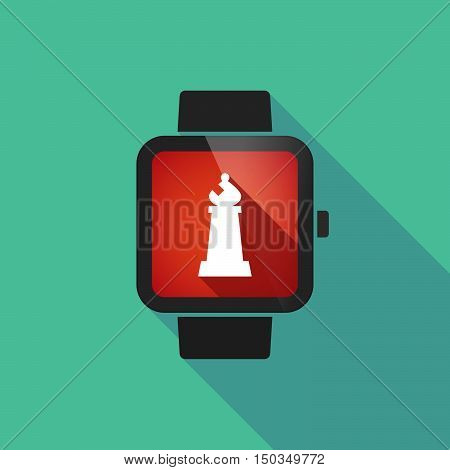 Long Shadow Smart Watch With A Bishop    Chess Figure
