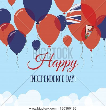 Bermuda Independence Day Flat Greeting Card. Flying Rubber Balloons In Colors Of The Bermudian Flag.